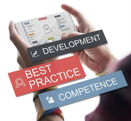 communication capability: Development Practice Competence Skilled Talent Concept Stock Photo
