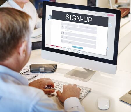 account executive: Sign Up Membership Registration Follow Concept