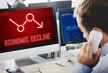 recession: Bankruptcy Critical Recession Inflation Graphic Concept Stock Photo