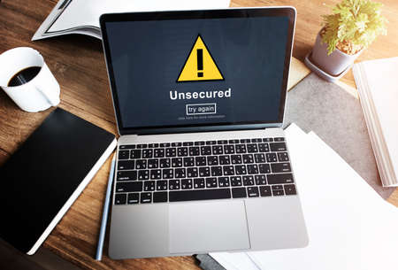 Unsecured Protection Privacy Confidential Antivirus Concept Stock Photo