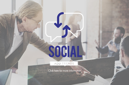 People at work with social concept