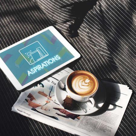 aspire: Aspiration Ambition Target Dream Aspire Solution Concept Stock Photo