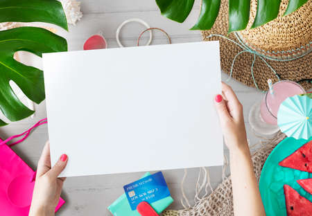 Summer Sale Shopping Credit Card Vacation Concept Stock Photo