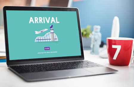 arrival: Arrival Business Trip Flights Travel Information Concept