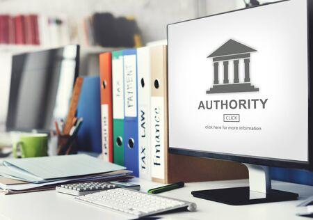 and authority: Pilar Gobierno de la Autoridad concepto gráfico