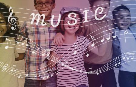 사운드 경음악 개념의 음악 노트 아트 스톡 콘텐츠