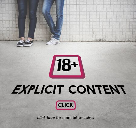 explicit: Eighteen Plus Adult Explicit Content Warning Stock Photo