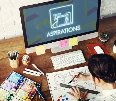 aspiration: Aspiration Ambition Target Dream Aspire Solution Concept Stock Photo