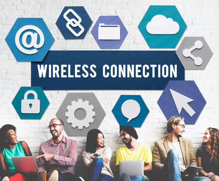 african descent: Wireless Signal Reception Mobility Graphic Concept