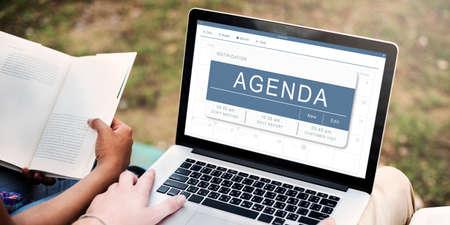 cronograma: Programa nombramiento concepto de calendario Programa del Plan Foto de archivo
