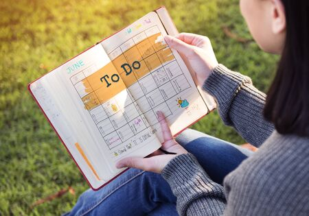 planner: To Do Agenda Planner Reminder Calendar Concept Stock Photo