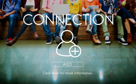 young add: Add Friends Community Connection Socialize Concept