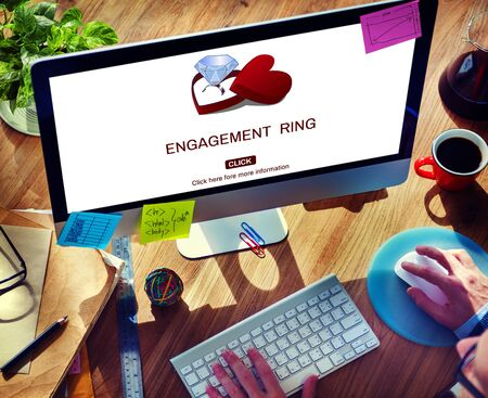 office romance: Engage Engagement Ring Couple Love Concept