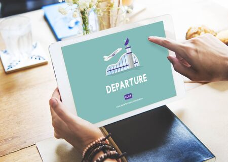 airplane take off: Departure Business Trip Flights Travel Concept