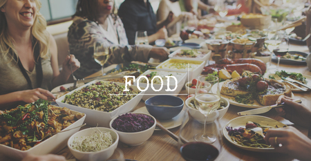 People Friends Dining Together Healthy Food Concept Stock Photo