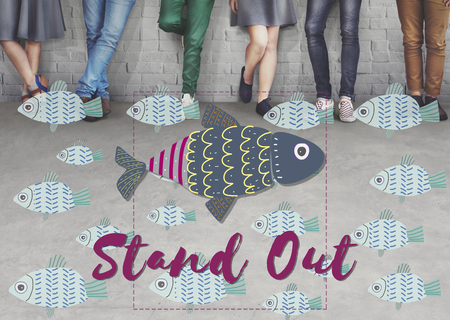 standing together: Individuality Unique Different Fish Graphic Concept