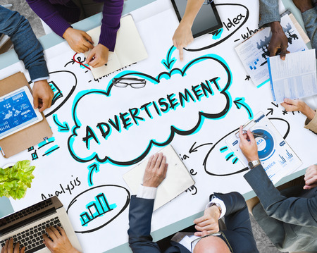 Business meeting with advertising concept Stock Photo