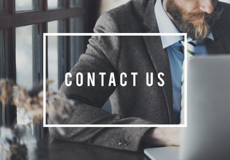 Contact Us Assistance Business Customer Support Concept Banco de Imagens