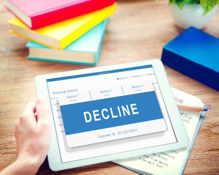 the decline: Decline Entry Pending Waiting Approved Reject Concept Stock Photo