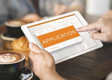signup: Online Application Registration Form Graphics Concept