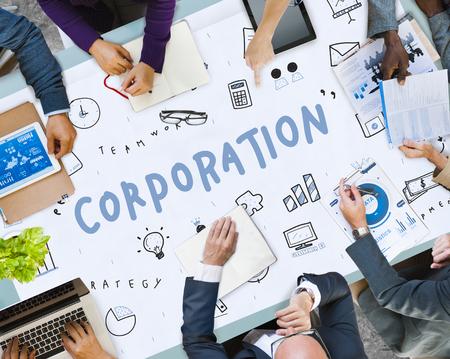 Reunión de negocios con el concepto de corporación Foto de archivo