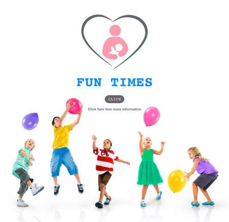 time's: Fun Times Activity Enjoyment Funny Happy Joyful Concept Stock Photo