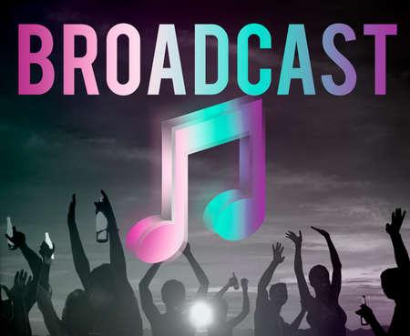 digital music: Digital Music Streaming Multimedia Entertainment Online Concept Stock Photo