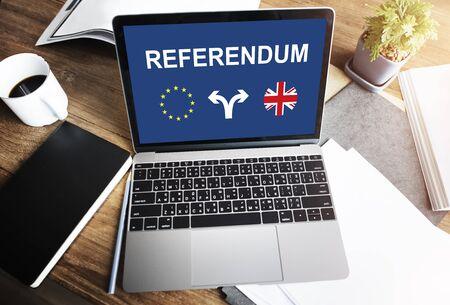 electronic voting: Brexit Bremain UK EU Referendum Concept