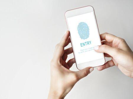 Fingerprint Password Biometrics Technology Concept