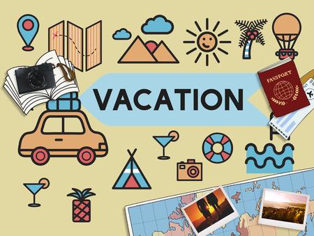 旅行の休暇日楽しい Enjotment コンセプト