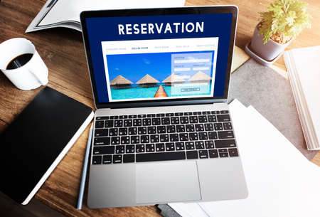 reservation: Holiday Reservation Website Interface Concept Stock Photo