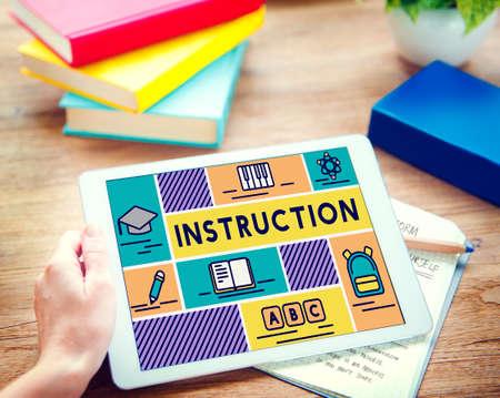 executive courses: Instruction Knowledge Education Training Coaching Concept Stock Photo