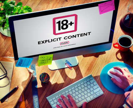 above 18: Eighteen Plus Adult Explicit Content Warning Stock Photo