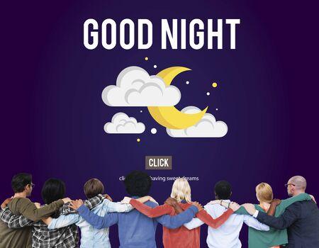 rear view: Good Night Sleepy Moon Stars Concept