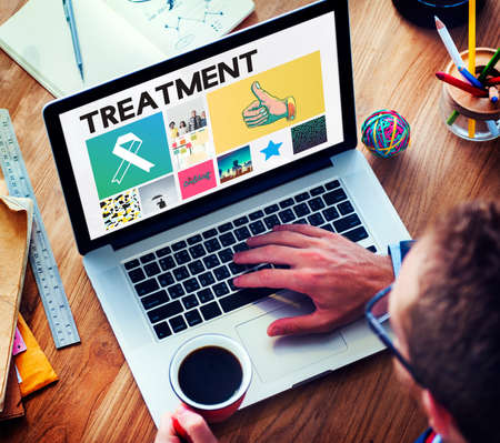 finding a cure: Ribbon Cure Healthcare Treatment Browsing Concept Stock Photo
