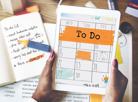 appointment book: To Do Agenda Planner Reminder Calendar Concept Stock Photo