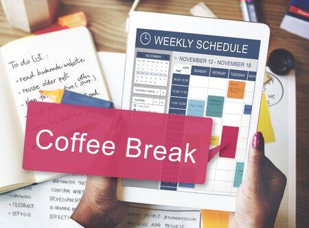 enjoyment: Coffee Break Beverage Cafe Drinking Enjoyment Concept Stock Photo