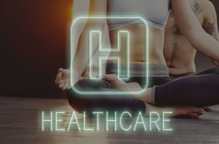 yoga to cure health: Hospital Cross Health Treatment Icon Graphic Concept