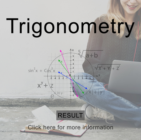 Trigonometry concept with woman in background