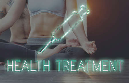 yoga to cure health: Meditation Healthcare Treatment Cure Concept Stock Photo