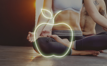 Apple shape and fitness concept
