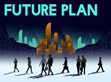 rush hour: Furutistic Future Plan Urban Structure Concept Stock Photo
