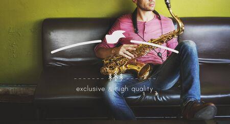 instrumentalist: Male Saxophone Musician Label Banner Graphic Concept