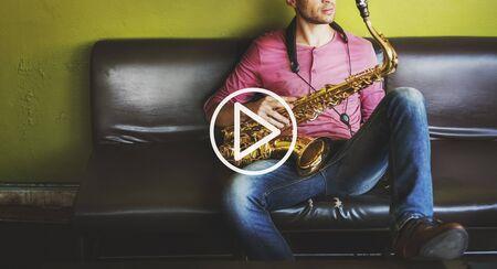 instrumentalist: Press Play Icon Lifestyle Graphic Concept