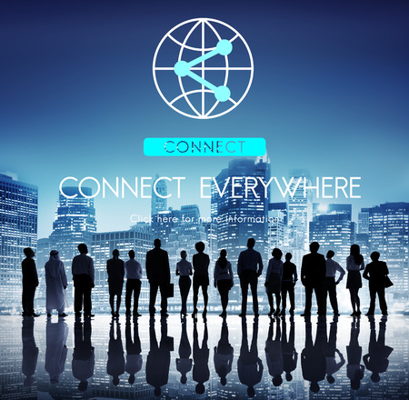 概念の共有接続インターネット通信ネットワーク 写真素材