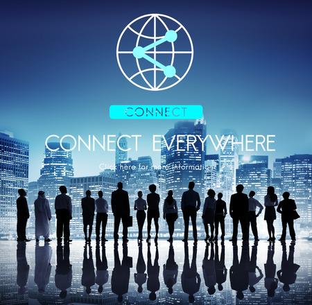 iluminado a contraluz: Conexión a Internet Concept Comunicación Sharing Network