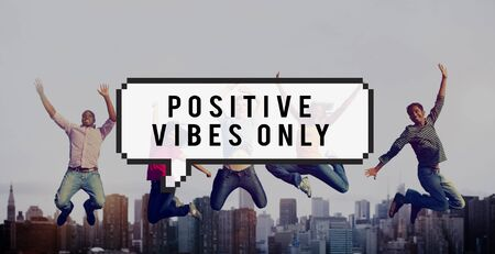 positivity: Positivity Positive Vibes Only Attitude Inspire Concept Stock Photo
