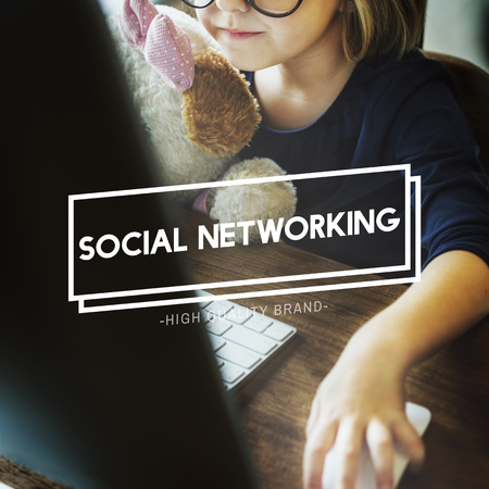 elementary age girls: Social Network Connection Communication Concept Stock Photo