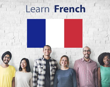 french ethnicity: Learn French Language Online Education Concept Stock Photo