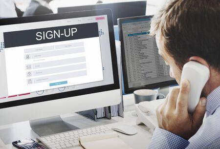 Registreer Lidmaatschap Registratie Follow Concept Stockfoto
